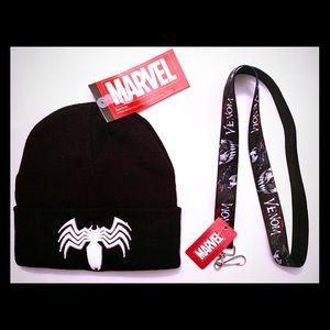 Marvel Comics VENOM Beanie Hat + Lanyard Keychain!